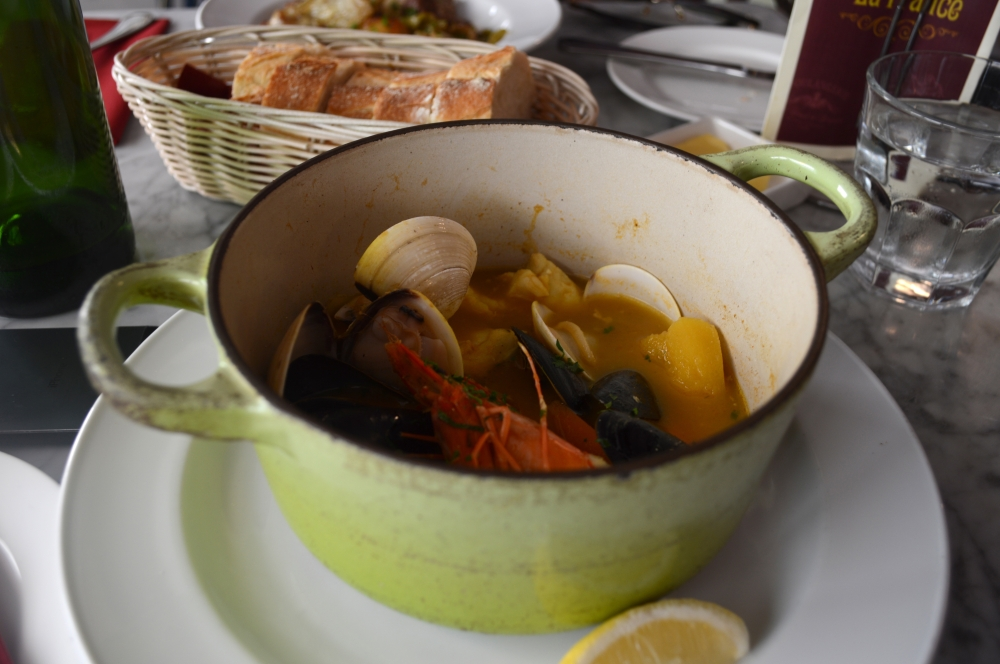 bouillabaise of fish, clams, mussels and prawns
