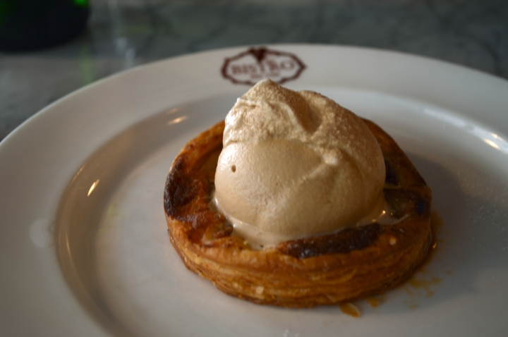 baked pear tart on puff pastry with salted caramel ice cream