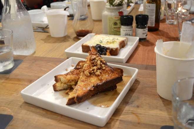 peanut butter and banana french toast, with toasted walnuts and maple syrup– $11.90