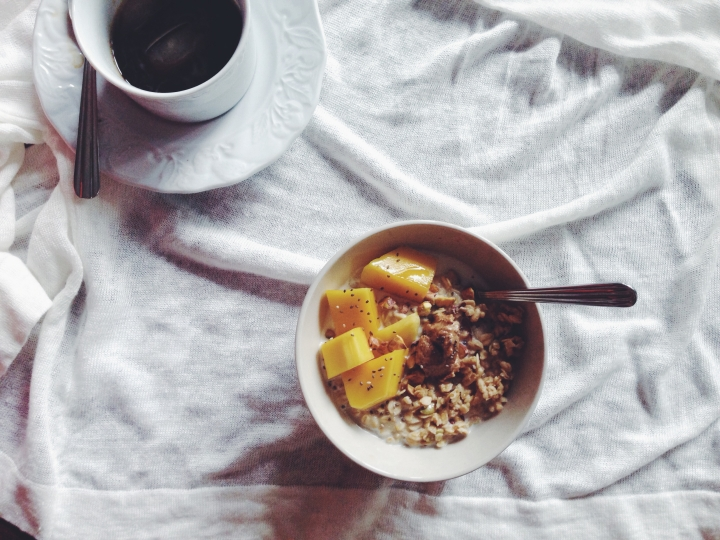 Mango and chia, topped with peanut butter, smothered in granola and lightly doused in whole milk