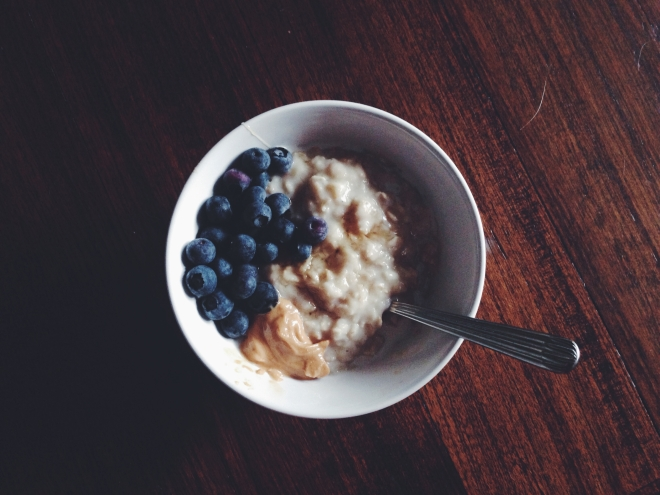 peanut butter, blueberries and maple syrup