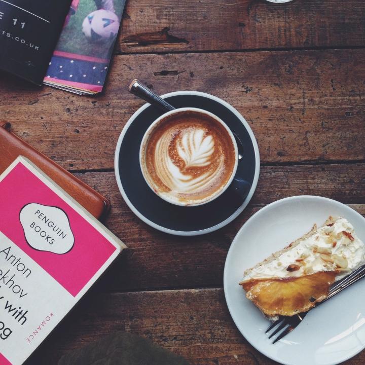Ozone Coffee Roasters' flat white and gluten-free orange almond cake