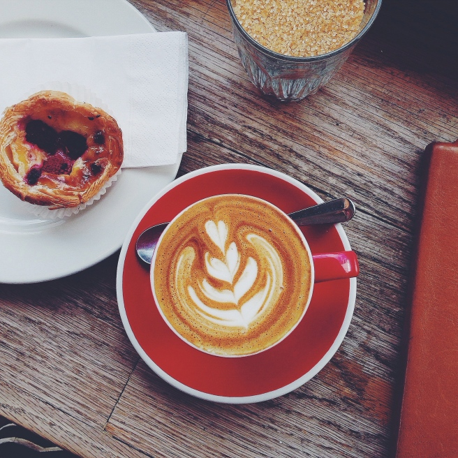 Flat white and raspberry custard tart from Shoreditch Grind